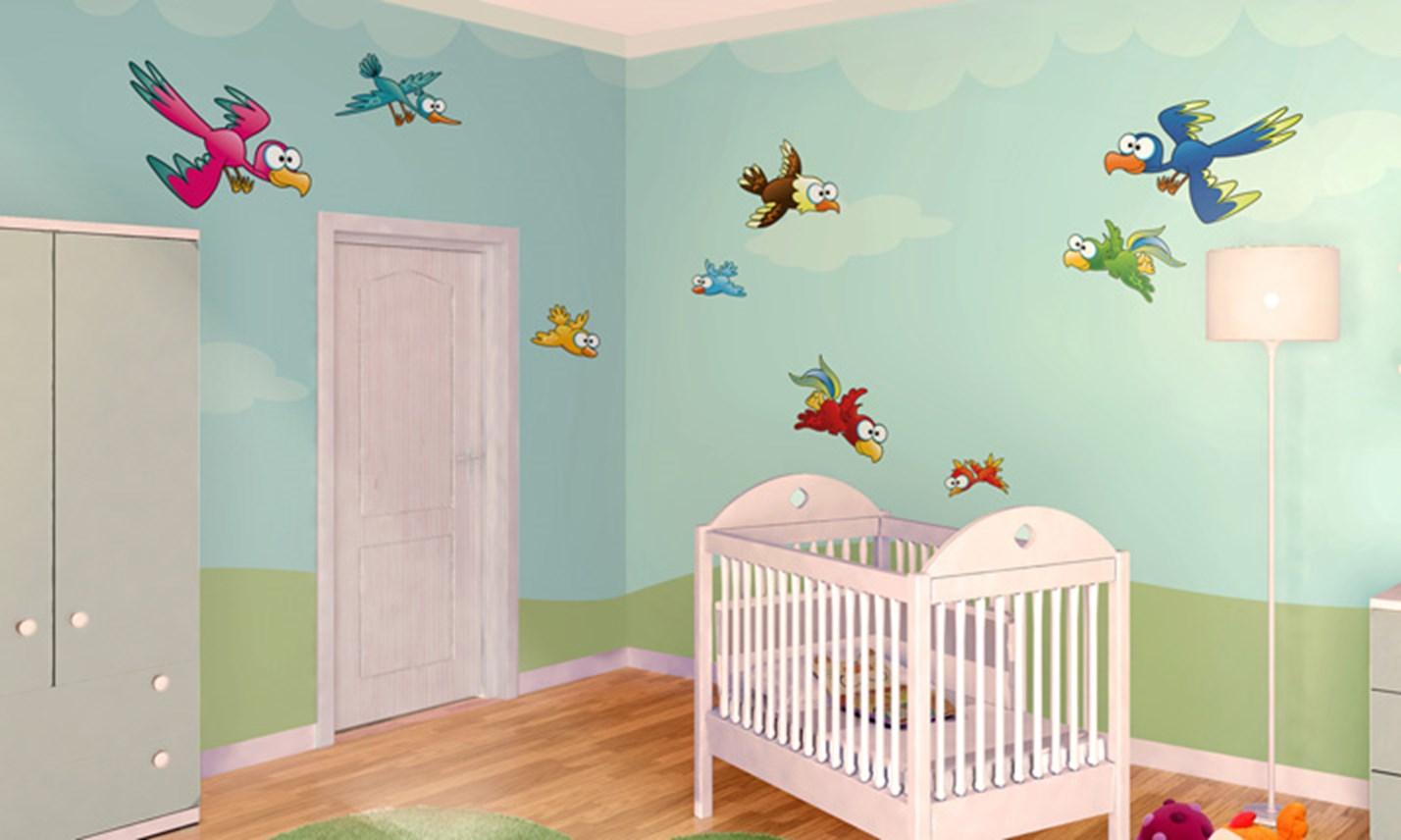 Stickers murali bambini cameretta uccellini leostickers - Adesivi murali per camerette ...